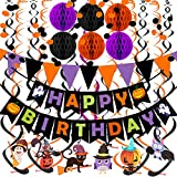 Happy Birthday Banner Paper Triangle Flag Bunting Circle Confetti Dots Hanging Garland Honeycomb Ball Swirl Streamers for Halloween theme party Birthday party Decoration