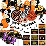 HIPEEWO Halloween Party Decorations - Halloween Party Supplies Paper Fans Boo Balloons Banner Sign Tablecloth Bracelet Bat Wall Decals Halloween Decorations Indoor