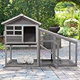COZIWOW Rabbit Hutch Indoor Outdoor, Wooden Bunny Cage with No Leakage Tray, 2-Story Rabbit House Guinea Pig Hutch with Run, Ventilation Door, Removable Bottom Wire Mesh & PVC Layer, UV Panel