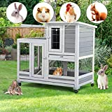 U-MAX 37' Rabbit Hutch Indoor Upgraded Wooden Bunny Cage Guinea Pig House Rabbit Cage with Run Bunny House 4 Casters Removable No Leak Trays & Ladder
