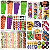 168 Pcs 24 Pack Halloween Party Favor Gift for Kids, Halloween Stationery Set with Goody Treat Bags, Halloween Bulk Toy for Class, Halloween Themed in Trick or Treat Bags, Halloween Party Game Prizes