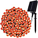Twinkle Star Solar String Lights Halloween Decoration, 98FT 300 LED 8 Modes Solar Powered Starry Fairy Light Waterproof, Outdoor / Indoor Decor for Garden Backyard Patio Yard Holiday Party, Orange