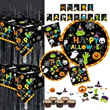 Serves 30 Complete Party Pack Cute Halloween Monsters and Ghosts 9' Dinner Paper Plates 7' Dessert Paper Plates 9 oz Cups 3 Ply Napkins 2 Table Cover Halloween Banner Halloween Party Decorations Halloween Party Supplies