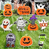 10 Pcs Halloween Decorations Outdoor, Large Halloween Yard Signs Stakes for Halloween Decor Halloween Yard Lawn Party Decorations Corrugate Trick or Treat Yard Signs with Stakes for Halloween Props