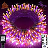 Halloween Lights Outdoor 200 LED 66ft Purple and Orange String Lights, with 8 Modes & Remote & Connectable Plug in Indoor Halloween LED Lights for Home Garden Porch Tree Decorations (Purple & Orange)
