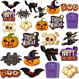 36 Pieces/12 Styles Halloween Wooden Ornaments Halloween Party Hanging Embellishments Pumpkin Bat Witch Spider Ornaments with 11 Yards Natural Rope for DIY Crafts Party Decorations