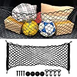 Heavy Duty Car Rear Cargo Net Stretchable, Universal Adjustable Elastic Rear Truck Net Compatible with Jeep Car Vehicle SUV Truck RV, Cargo Storage Nylon Mesh Net with Hooks