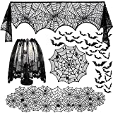 UMARDOO 5pack Halloween Decorations Tablecloth Runner, Spider Cobweb Table Cover Fireplace Mantel Scarf Spider Lampshade with 36pcs Scary Bat for Halloween Party