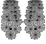QueenDream 2 Packs Halloween Table Runner 18x72Inch Black Lace Spider Web Table Runner for Fireplace Halloween Party Table Decorations