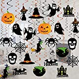 Halloween Hanging Decoration - 36 PCS Halloween Swirl Ceiling Hanging Decoration - Large Size Witches Ghost Pumpkin Ceiling Decorations for Halloween Party