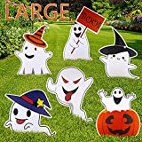 JIABNUKKN Halloween Decorations Outdoor, Halloween Yard Decorations Large Pumpkin Ghost Yard Signs with Stakes for Lawn Yard Prop Party Decor Outside Family Trick or Treat Cute Halloween Yard Signs