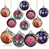 12 Pieces Halloween Hanging Wrapped Foam Ball Decor Halloween Hanging Ball Ornaments 2 Inch Halloween Tree Ornaments Ball for Halloween Holiday Party Tree Wreath Wall Home Window Decoration Supplies