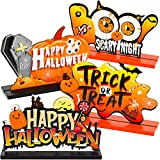 4 Happy Halloween Table Decoration, Halloween Wooden Pumpkin Centerpiece Boo Signs, Trick or Treat Table Toppers Table Signs, Candy Day Halloween Party Dinner Coffee Table Topper Tier Tray Room Decor