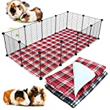 BWOGUE 2 Pack Guinea Pig Cage Liners Washable Guinea Pig Bedding Reusable Waterproof Anti Slip Pee Pads Super Absorbent Cage Liners for Guinea Pigs, Hamsters, Rabbits & All Small Animals