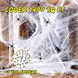 1400 Sqft Spider Web Halloween Decorations, Fake Spider web Suppliers, Halloween Indoor and Outdoor Party Decorations, Include 120 spiders