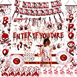 HIPEEWO Scary Halloween Party Decorations - Bloody Halloween Party Supplies Include Backdrop, Porch Sign, Banner, Apron, Tattoo Stickers, Balloon, Caution Tape, Horrible Halloween Decorations Indoor