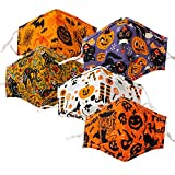 Halloween Funny Reusable Washable Face Cloth Mask, Breathable Adjustable Face Covering for Adults (5 Pack-1)
