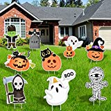 FilmHOO 9Pcs Halloween Decorations Outdoor-Yard Signs with Stakes,Halloween Decor Large Pumpkin Skeleton and Ghost Corrugate Trick or Treat Yard Signs Halloween Prop/Yard Lawn Party Supplies