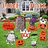 Woochic Halloween Decorations Outdoor 9 Pack Yard Signs,Large Pumpkin Ghost Corrugate Yard Stakes Signs for Halloween Lawn Decoration Family Friendly Trick or Treat Party Plastic Decor